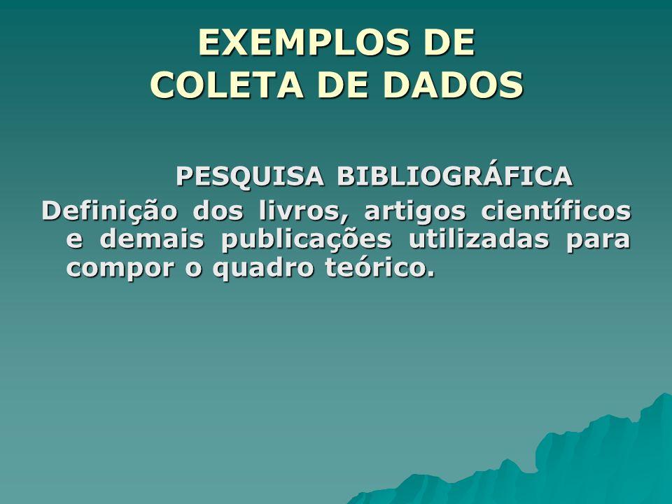 EXEMPLOS DE COLETA DE DADOS PESQUISA BIBLIOGRÁFICA Definição dos livros, artigos científicos e demais publicações utilizadas para compor o quadro teórico.