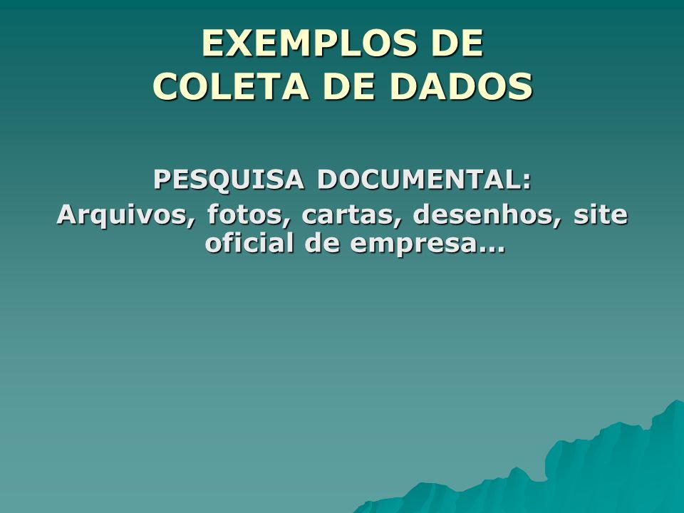 EXEMPLOS DE COLETA DE DADOS PESQUISA DOCUMENTAL: Arquivos, fotos, cartas, desenhos, site oficial de empresa...