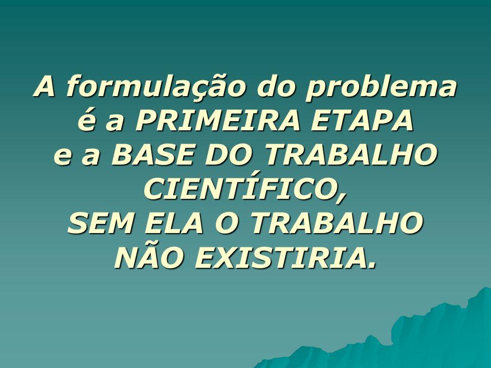 A formulação do problema é a PRIMEIRA ETAPA e a BASE DO TRABALHO CIENTÍFICO, SEM ELA O TRABALHO NÃO EXISTIRIA.