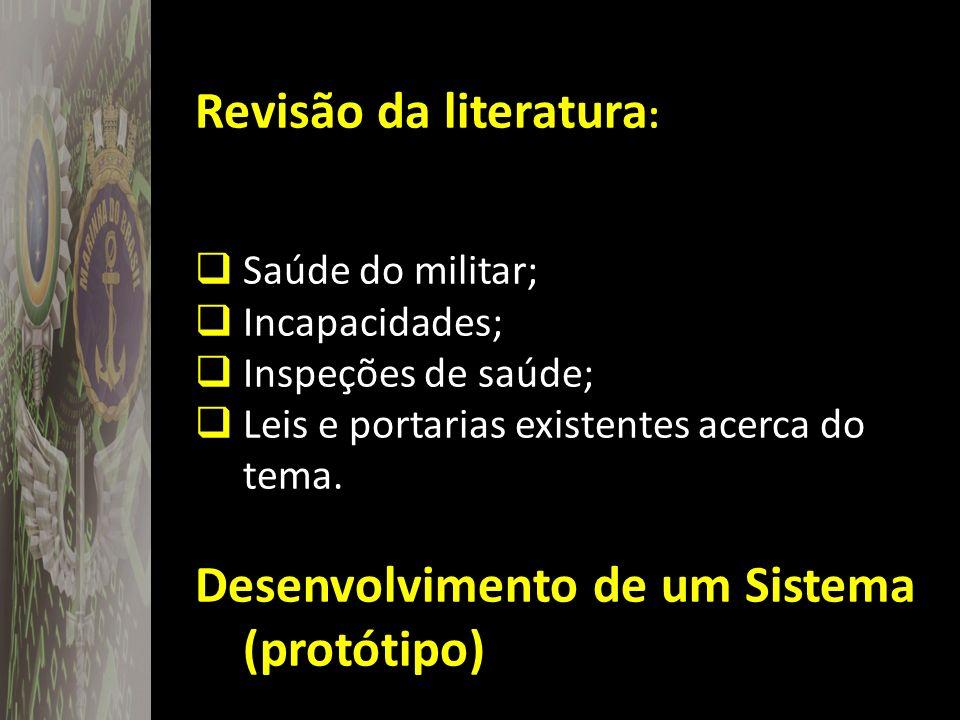 Revisão da literatura : Saúde do militar; Incapacidades; Inspeções de saúde; Leis e portarias existentes acerca do tema. Desenvolvimento de um Sistema
