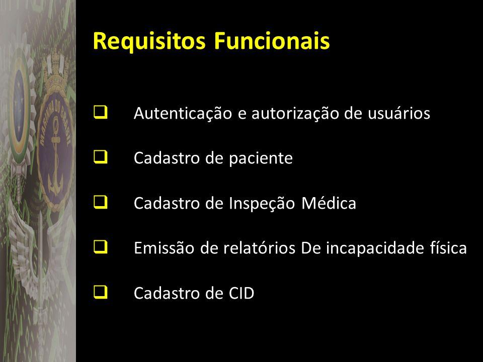 Requisitos Funcionais Autenticação e autorização de usuários Cadastro de paciente Cadastro de Inspeção Médica Emissão de relatórios De incapacidade fí