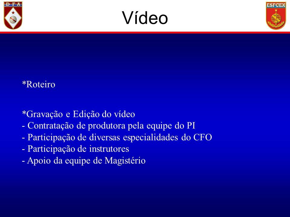 Vídeo *Roteiro *Gravação e Edição do vídeo - Contratação de produtora pela equipe do PI - Participação de diversas especialidades do CFO - Participação de instrutores - Apoio da equipe de Magistério