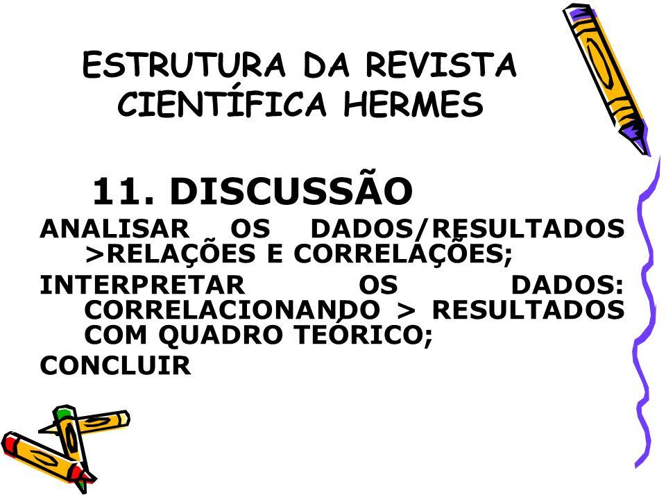 ESTRUTURA DA REVISTA CIENTÍFICA HERMES 11. DISCUSSÃO ANALISAR OS DADOS/RESULTADOS >RELAÇÕES E CORRELAÇÕES; INTERPRETAR OS DADOS: CORRELACIONANDO > RES