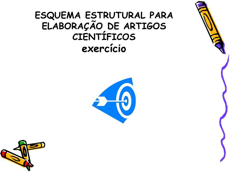 ESQUEMA ESTRUTURAL PARA ELABORAÇÃO DE ARTIGOS CIENTÍFICOS exercício