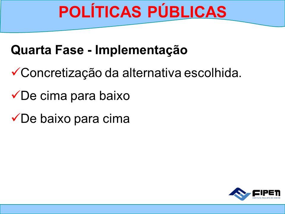 Quarta Fase - Implementação Concretização da alternativa escolhida. De cima para baixo De baixo para cima POLÍTICAS PÚBLICAS