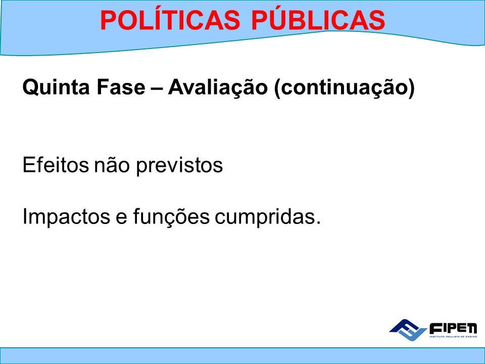 Quinta Fase – Avaliação (continuação) Efeitos não previstos Impactos e funções cumpridas. POLÍTICAS PÚBLICAS