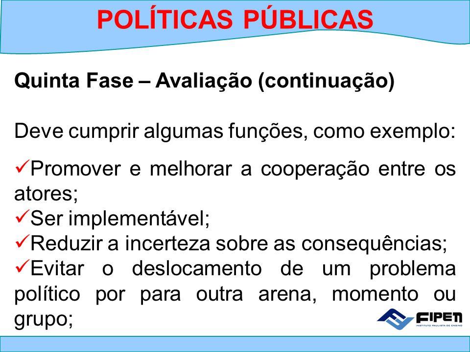 Quinta Fase – Avaliação (continuação) Deve cumprir algumas funções, como exemplo: Promover e melhorar a cooperação entre os atores; Ser implementável;