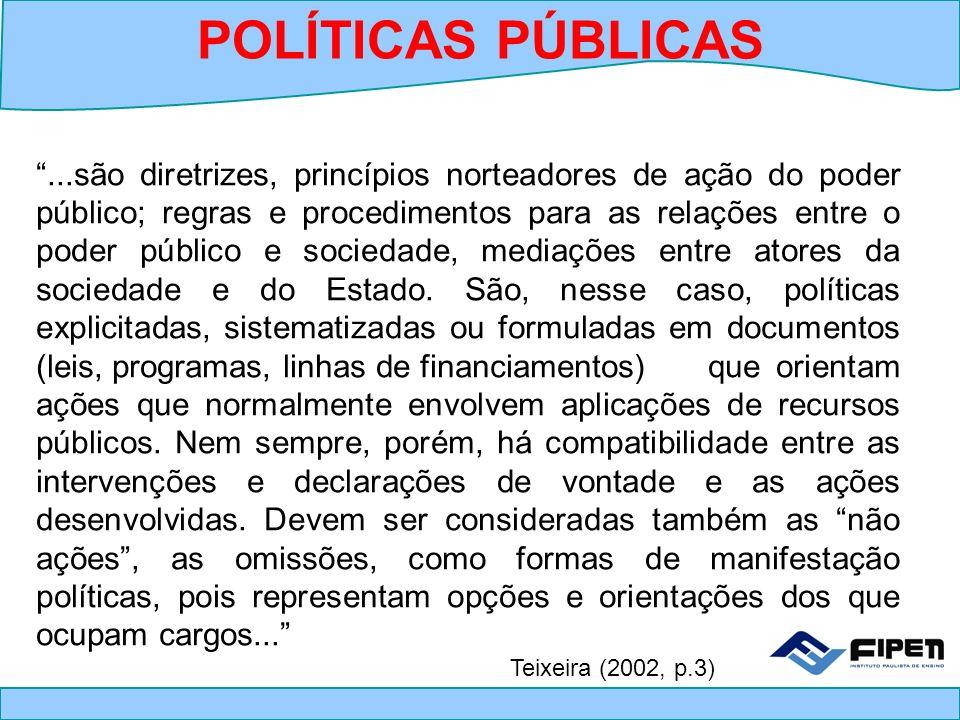 Conceito (...) Políticas Públicas são um conjunto de ações e decisões do governo, voltadas para a solução (ou não) de problemas da sociedade (...).