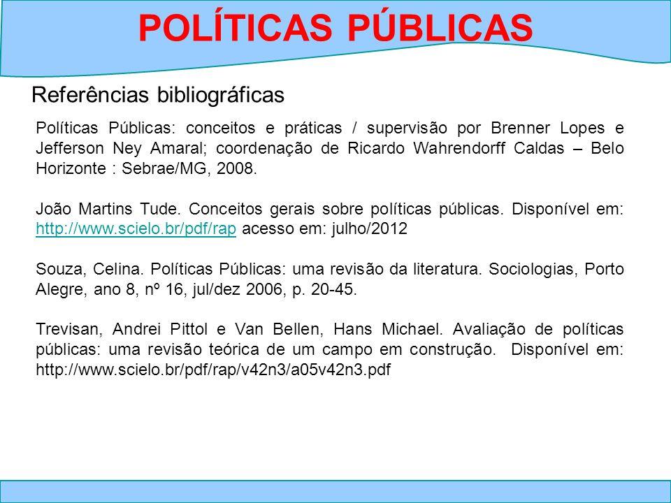 Referências bibliográficas POLÍTICAS PÚBLICAS Políticas Públicas: conceitos e práticas / supervisão por Brenner Lopes e Jefferson Ney Amaral; coordena