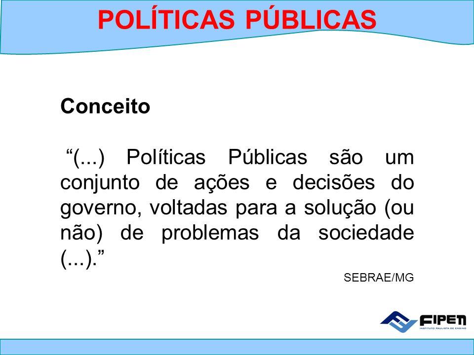 Conceito (...) Políticas Públicas são um conjunto de ações e decisões do governo, voltadas para a solução (ou não) de problemas da sociedade (...). SE