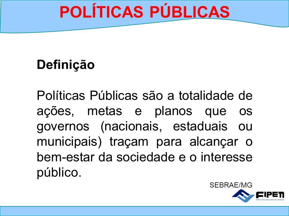 Definição Políticas Públicas são a totalidade de ações, metas e planos que os governos (nacionais, estaduais ou municipais) traçam para alcançar o bem