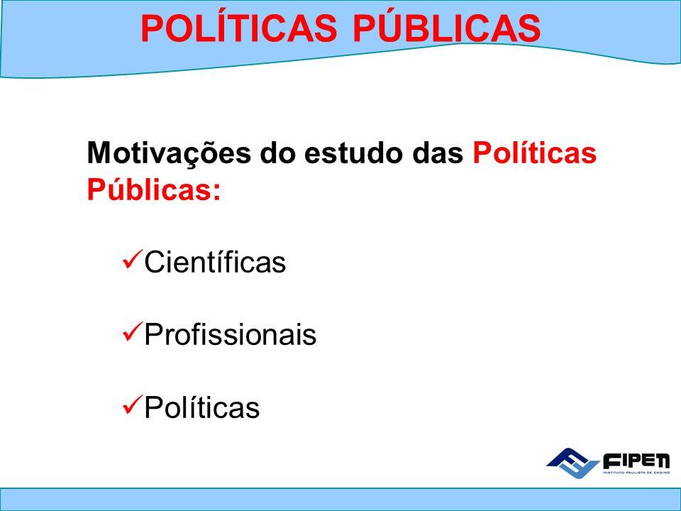 Motivações do estudo das Políticas Públicas: Científicas Profissionais Políticas POLÍTICAS PÚBLICAS