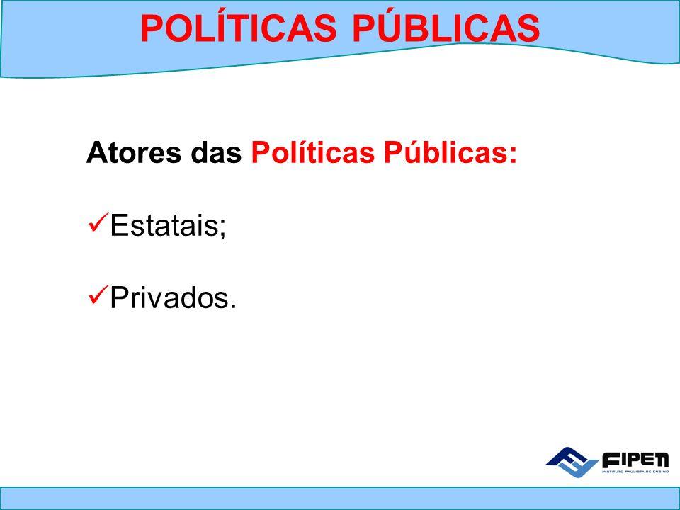 Atores das Políticas Públicas: Estatais; Privados. POLÍTICAS PÚBLICAS