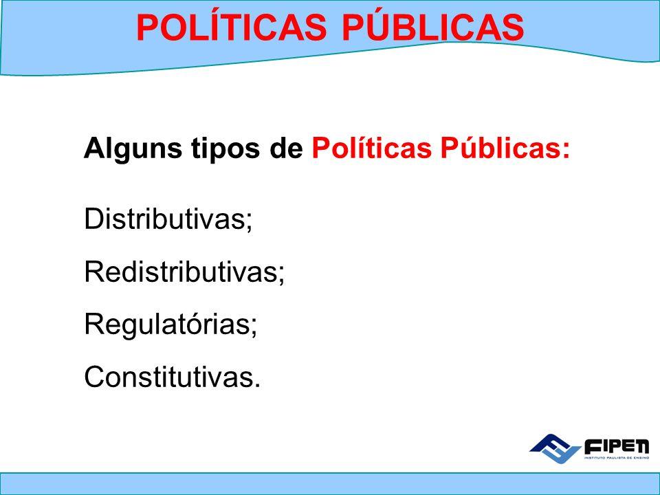 Alguns tipos de Políticas Públicas: Distributivas; Redistributivas; Regulatórias; Constitutivas. POLÍTICAS PÚBLICAS