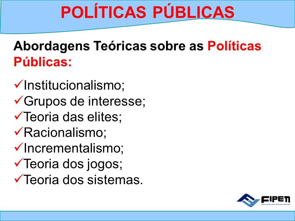 Abordagens Teóricas sobre as Políticas Públicas: Institucionalismo; Grupos de interesse; Teoria das elites; Racionalismo; Incrementalismo; Teoria dos
