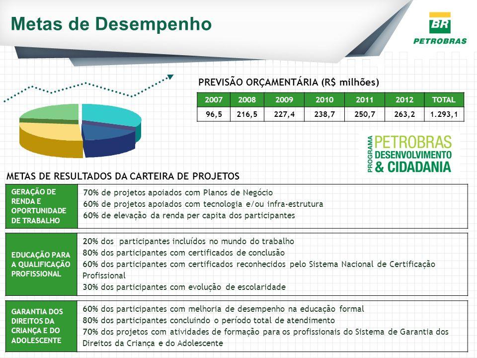 Metas de Desempenho GERAÇÃO DE RENDA E OPORTUNIDADE DE TRABALHO 70% de projetos apoiados com Planos de Negócio 60% de projetos apoiados com tecnologia
