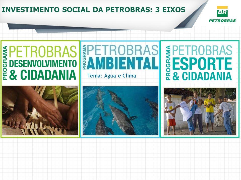 Tema: Água e Clima INVESTIMENTO SOCIAL DA PETROBRAS: 3 EIXOS