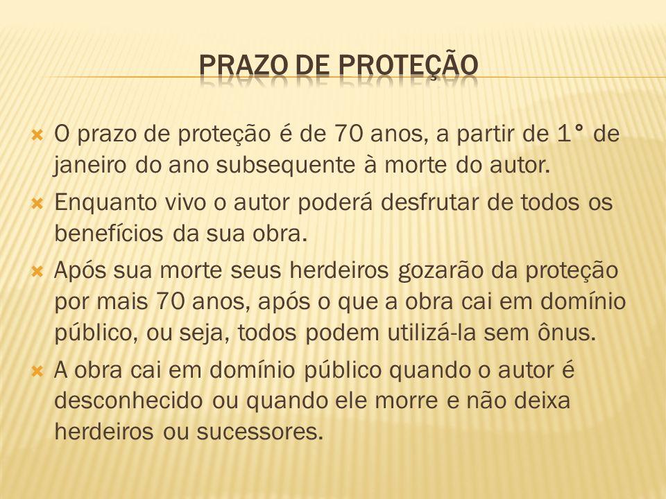 O prazo de proteção é de 70 anos, a partir de 1° de janeiro do ano subsequente à morte do autor. Enquanto vivo o autor poderá desfrutar de todos os be