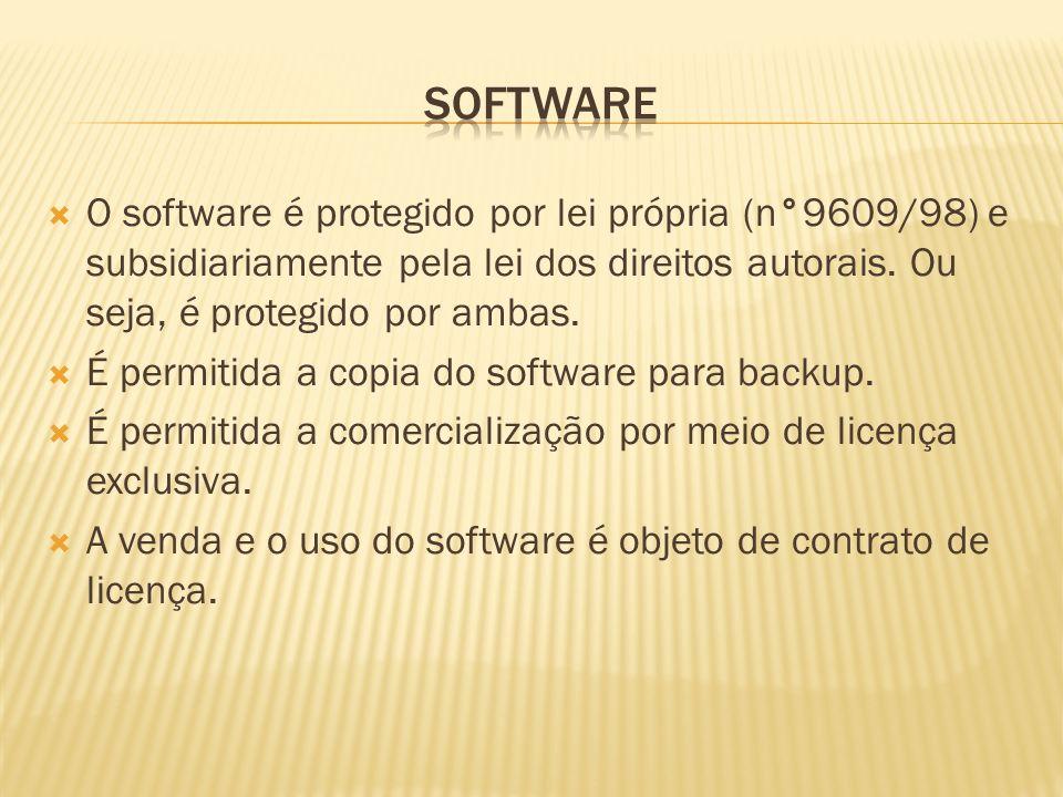 O software é protegido por lei própria (n°9609/98) e subsidiariamente pela lei dos direitos autorais. Ou seja, é protegido por ambas. É permitida a co