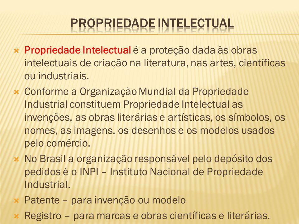 Propriedade Intelectual é a proteção dada às obras intelectuais de criação na literatura, nas artes, científicas ou industriais. Conforme a Organizaçã