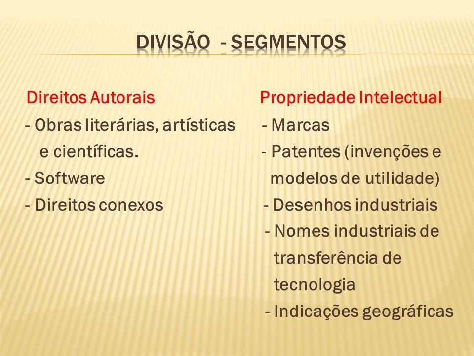 Direitos Autorais Propriedade Intelectual - Obras literárias, artísticas - Marcas e científicas. - Patentes (invenções e - Software modelos de utilida