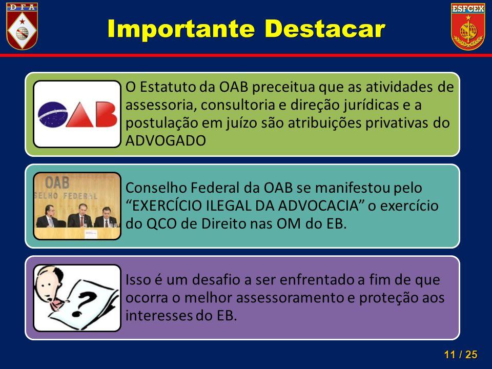 11 / 25 Importante Destacar O Estatuto da OAB preceitua que as atividades de assessoria, consultoria e direção jurídicas e a postulação em juízo são a