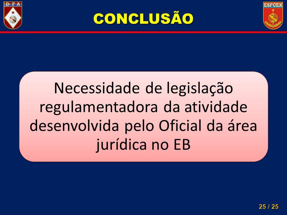 25 / 25 Necessidade de legislação regulamentadora da atividade desenvolvida pelo Oficial da área jurídica no EB CONCLUSÃO