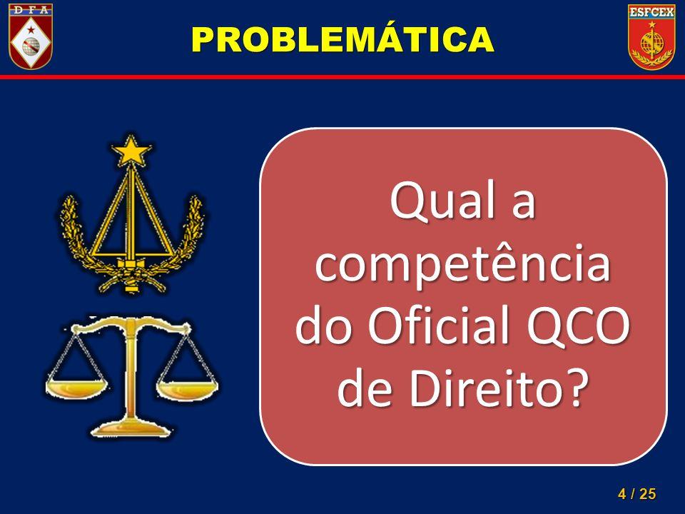 4 / 25 PROBLEMÁTICA Qual a competência do Oficial QCO de Direito?