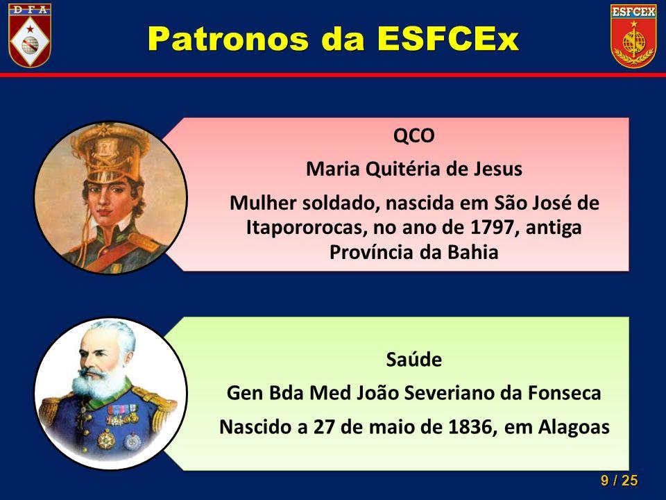 9 / 25 Patronos da ESFCEx QCO Maria Quitéria de Jesus Mulher soldado, nascida em São José de Itapororocas, no ano de 1797, antiga Província da Bahia S