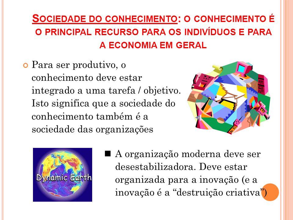 S OCIEDADE DO CONHECIMENTO : O CONHECIMENTO É O PRINCIPAL RECURSO PARA OS INDIVÍDUOS E PARA A ECONOMIA EM GERAL Para ser produtivo, o conhecimento dev