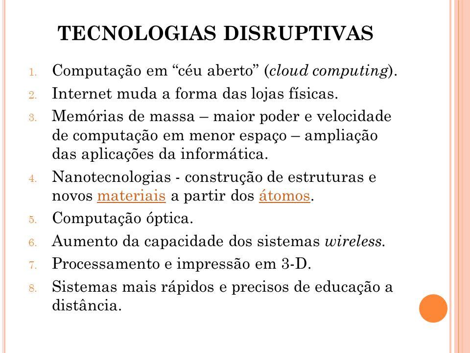 TECNOLOGIAS DISRUPTIVAS 1. Computação em céu aberto ( cloud computing ). 2. Internet muda a forma das lojas físicas. 3. Memórias de massa – maior pode