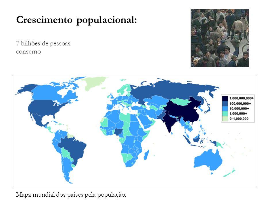 Crescimento populacional: 7 bilhões de pessoas. consumo Mapa mundial dos países pela população.