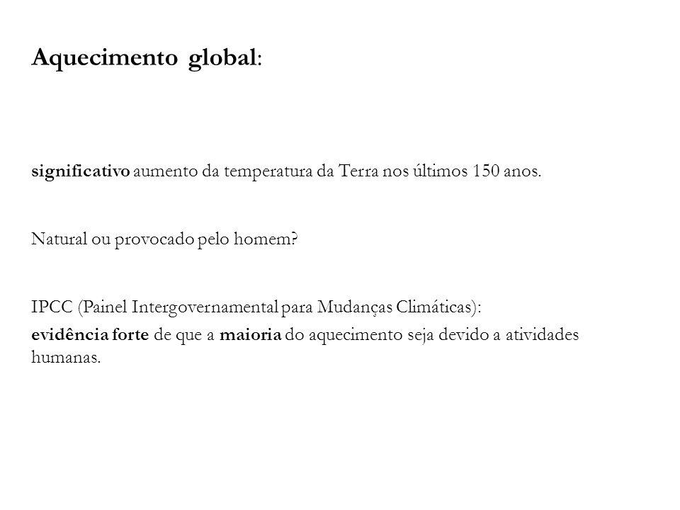 Aquecimento global: significativo aumento da temperatura da Terra nos últimos 150 anos. Natural ou provocado pelo homem? IPCC (Painel Intergovernament