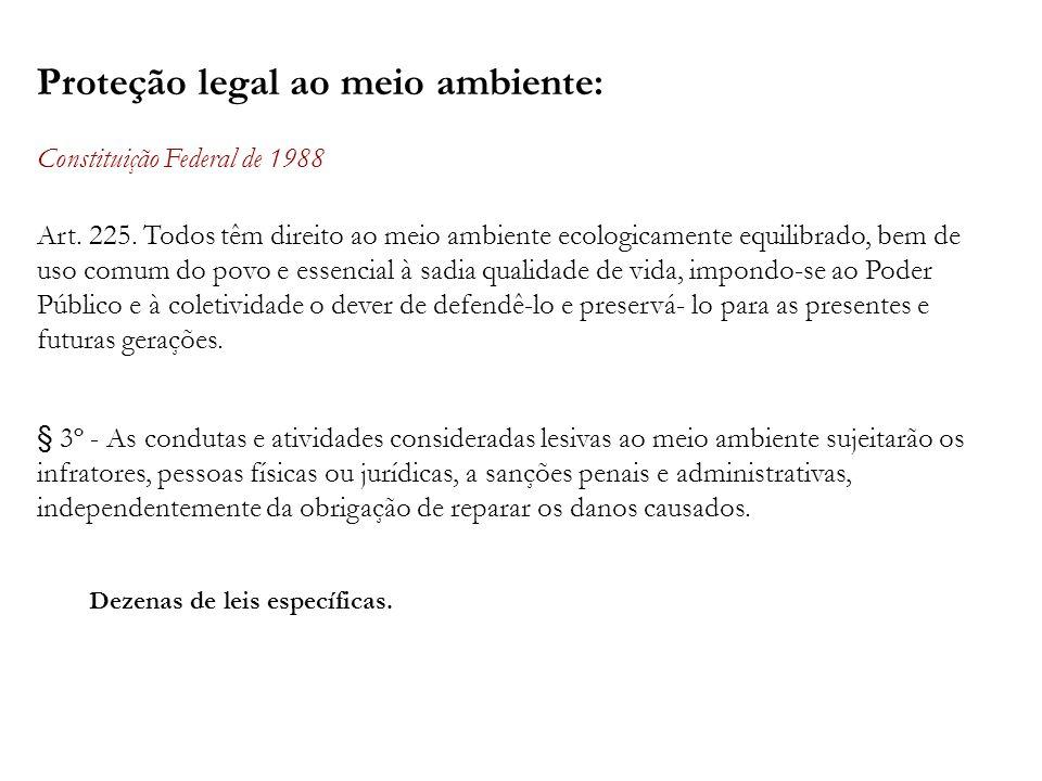 Proteção legal ao meio ambiente: Constituição Federal de 1988 Art. 225. Todos têm direito ao meio ambiente ecologicamente equilibrado, bem de uso comu