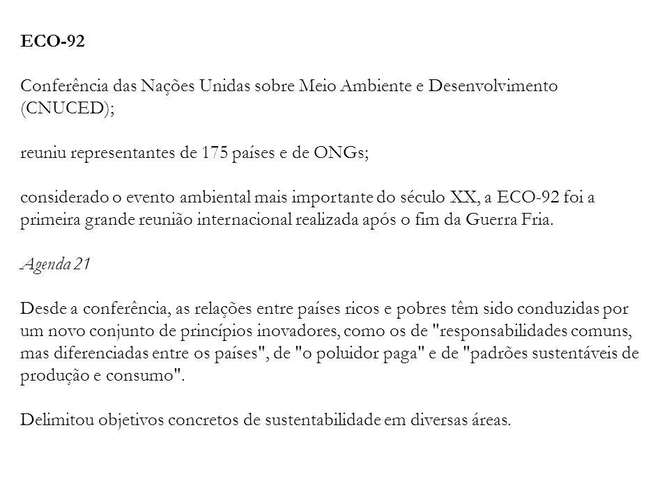 ECO-92 Conferência das Nações Unidas sobre Meio Ambiente e Desenvolvimento (CNUCED); reuniu representantes de 175 países e de ONGs; considerado o even