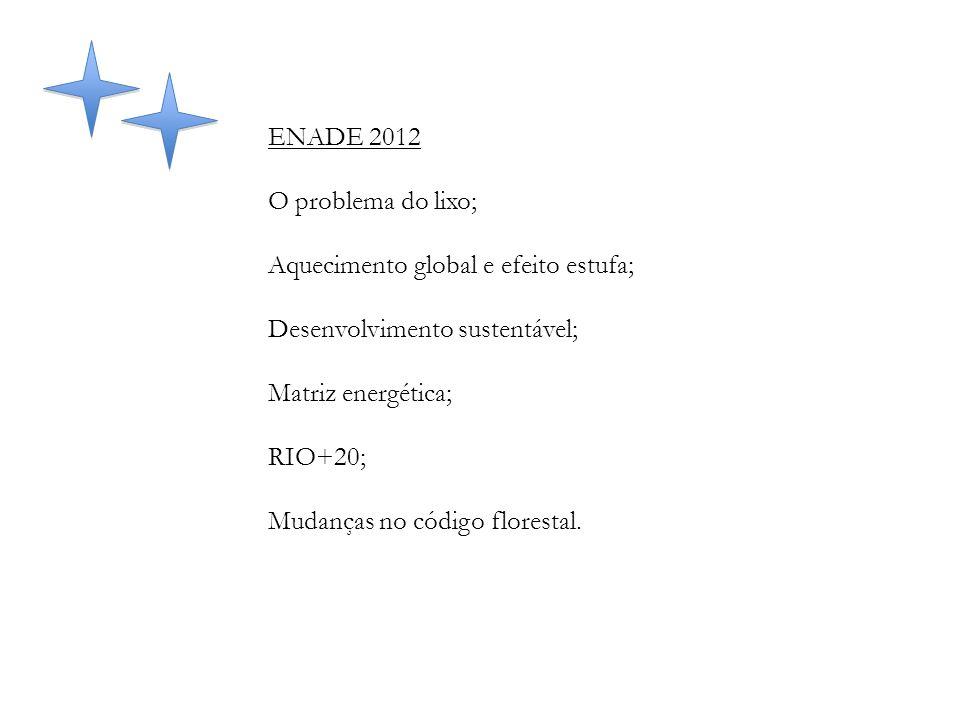 ENADE 2012 O problema do lixo; Aquecimento global e efeito estufa; Desenvolvimento sustentável; Matriz energética; RIO+20; Mudanças no código floresta