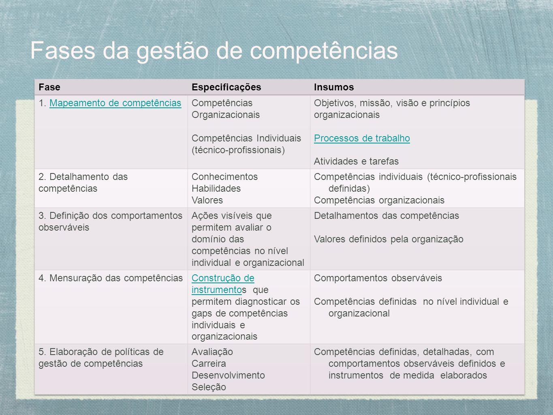 Fases da gestão de competências