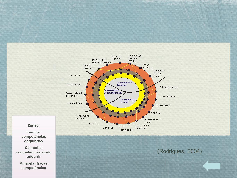 Zonas: Laranja: competências adquiridas Castanha: competências ainda adquirir Amarela: fracas competências Zonas: Laranja: competências adquiridas Cas