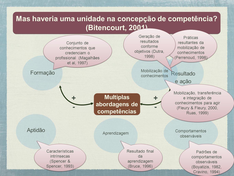 Mas haveria uma unidade na concepção de competência? (Bitencourt, 2001) Mas haveria uma unidade na concepção de competência? (Bitencourt, 2001) Multip