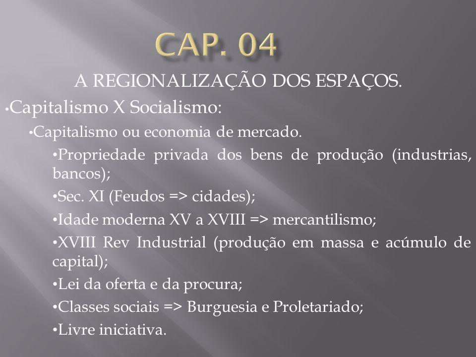 A REGIONALIZAÇÃO DOS ESPAÇOS. Capitalismo X Socialismo: Capitalismo ou economia de mercado. Propriedade privada dos bens de produção (industrias, banc