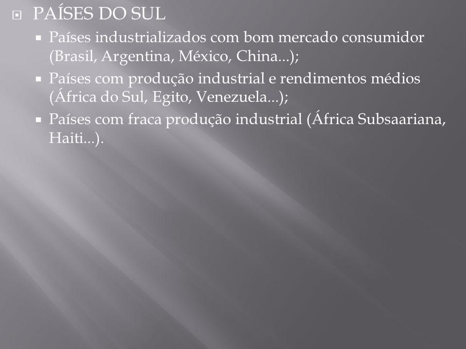 PAÍSES DO SUL Países industrializados com bom mercado consumidor (Brasil, Argentina, México, China...); Países com produção industrial e rendimentos m