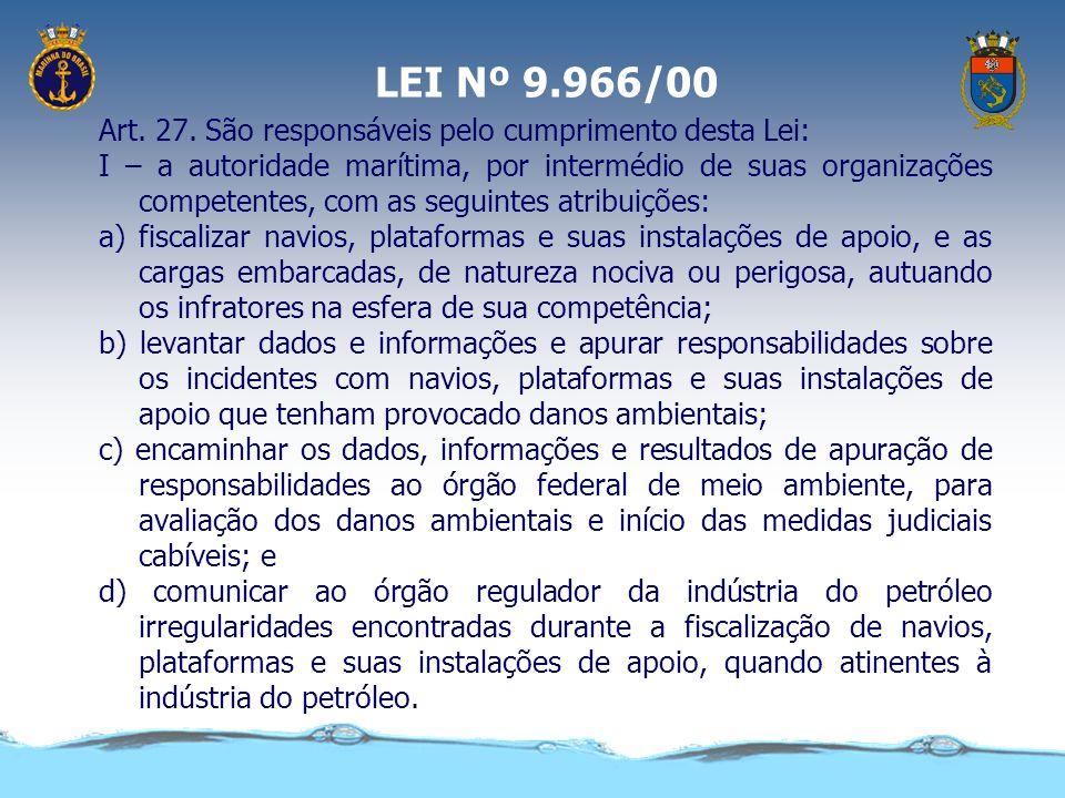Lei 9966/2000 Dispõe sobre a prevenção, o controle e a fiscalização da poluição causada por lançamento de óleo e outras substâncias nocivas ou perigos