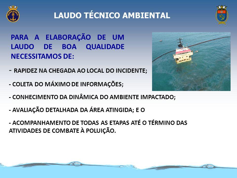 Uma atividade realizada pela MB, de suma importância para a prevenção da poluição por derivados de petróleo, é a elaboração de Laudos Técnicos Ambient