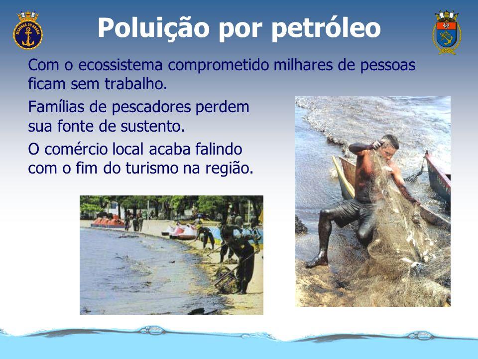 Poluição por petróleo No mangue o óleo impede as árvores de captar o oxigênio do ar causando sua morte. Os crustáceos morrem pela falta de alimento (f