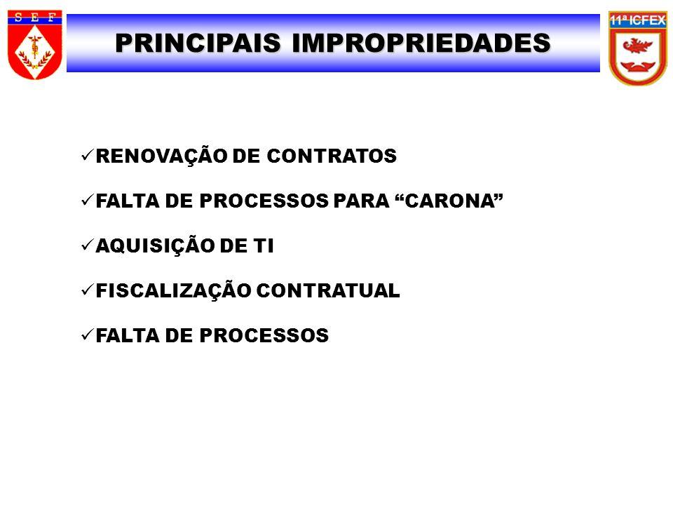 PRINCIPAIS IMPROPRIEDADES 29 RENOVAÇÃO DE CONTRATOS FALTA DE PROCESSOS PARA CARONA AQUISIÇÃO DE TI FISCALIZAÇÃO CONTRATUAL FALTA DE PROCESSOS
