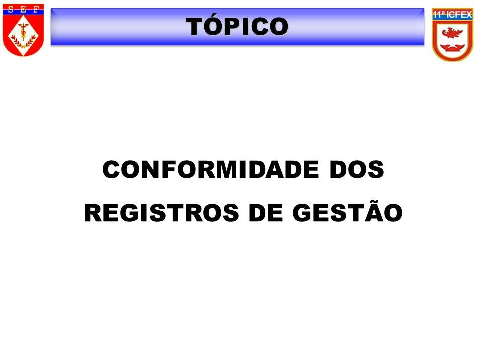 TÓPICO CONFORMIDADE DOS REGISTROS DE GESTÃO