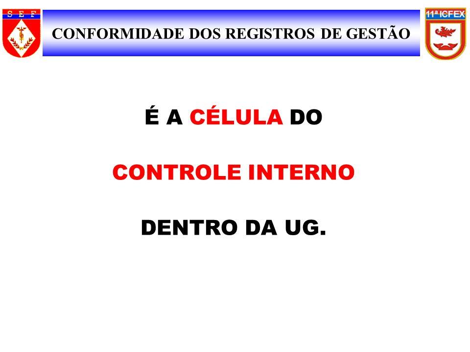 É A CÉLULA DO CONTROLE INTERNO DENTRO DA UG. SIAFI CONFORMIDADE DE REGISTRO DE GESTÃO CONFORMIDADE DOS REGISTROS DE GESTÃO 3