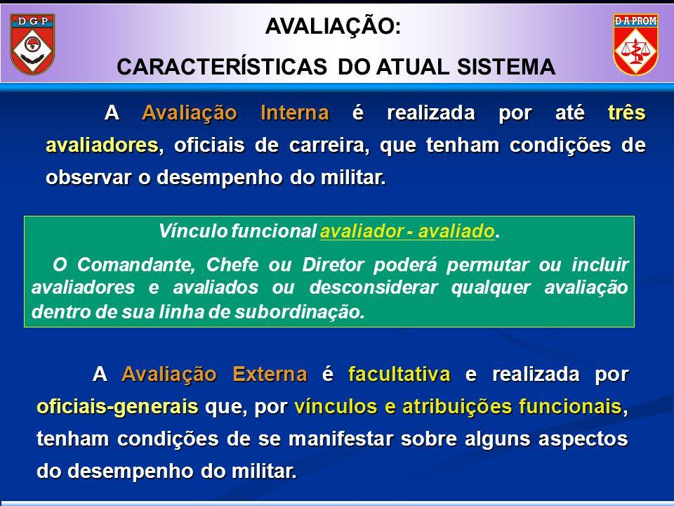 A Avaliação Interna é realizada por até três avaliadores, oficiais de carreira, que tenham condições de observar o desempenho do militar. A Avaliação