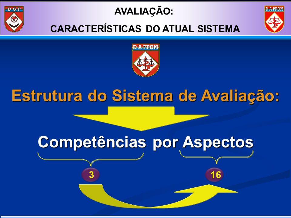 Estrutura do Sistema de Avaliação: Competências por Aspectos Concepção 316 AVALIAÇÃO: CARACTERÍSTICAS DO ATUAL SISTEMA