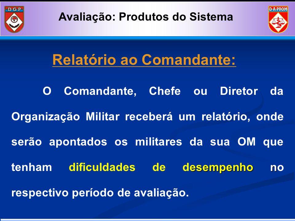 Relatório ao Comandante: esempenho n O Comandante, Chefe ou Diretor da Organização Militar receberá um relatório, onde serão apontados os militares da